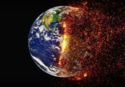 earth world globe climate change fire embers